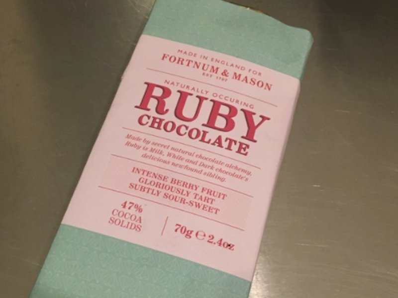 The Ruby Chocolate Bar wrapper.
