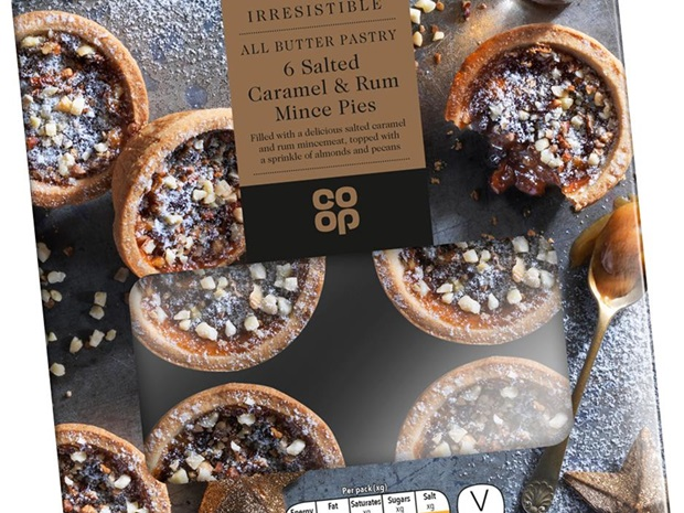 co-op salted caramel and rum mince pies
