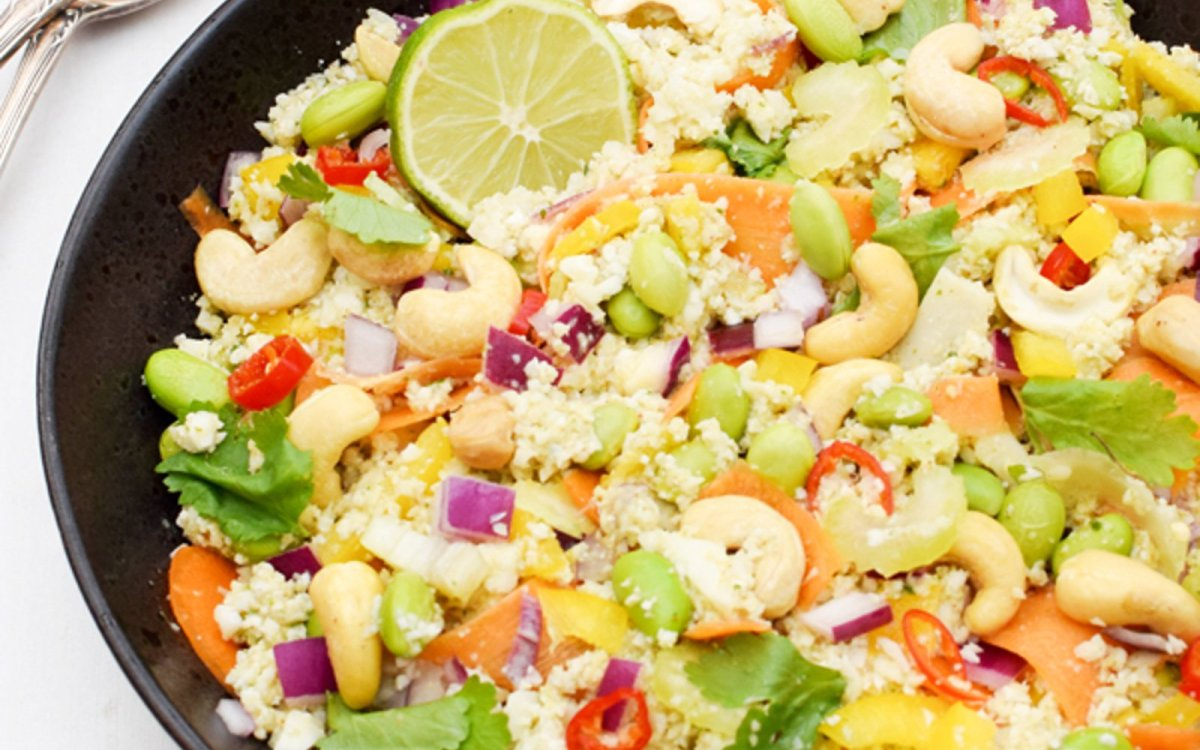 Crunchy Cashew Asian Cauliflower Rice Salad