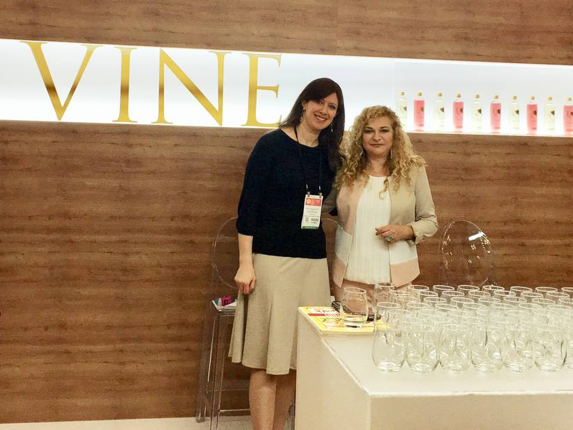 Israeli Kitchen columnist Sarah F. Berkowitz (left) and Anat Levi (right) at the Summer Fancy Food Show in New York.