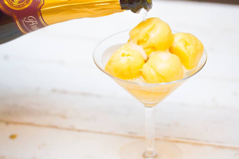 Mango sorbet + champagne = low-maintenance cheers.