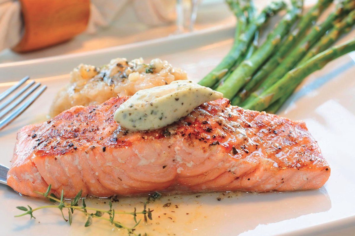 Premium butter on salmon