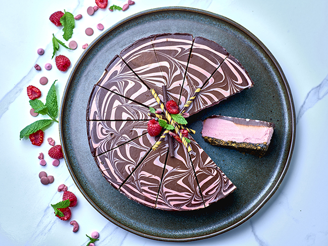 Central Foods' ruby chocolate raspberry cheesecake