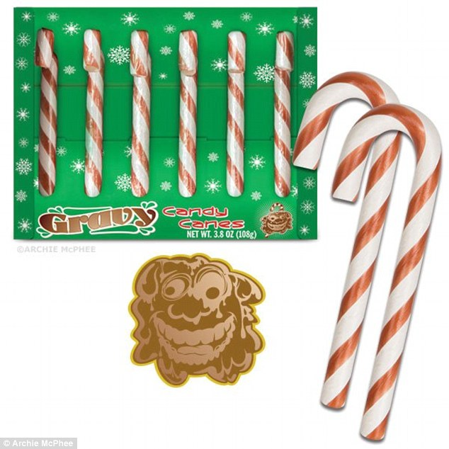 So juicy! In the past, the company has sold a gravy-flavored candy cane