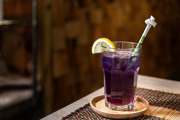 Blue food and drinks, like this iced butterfly pea tea from Thai Farm Kitchen in Brooklyn, will color 2020.