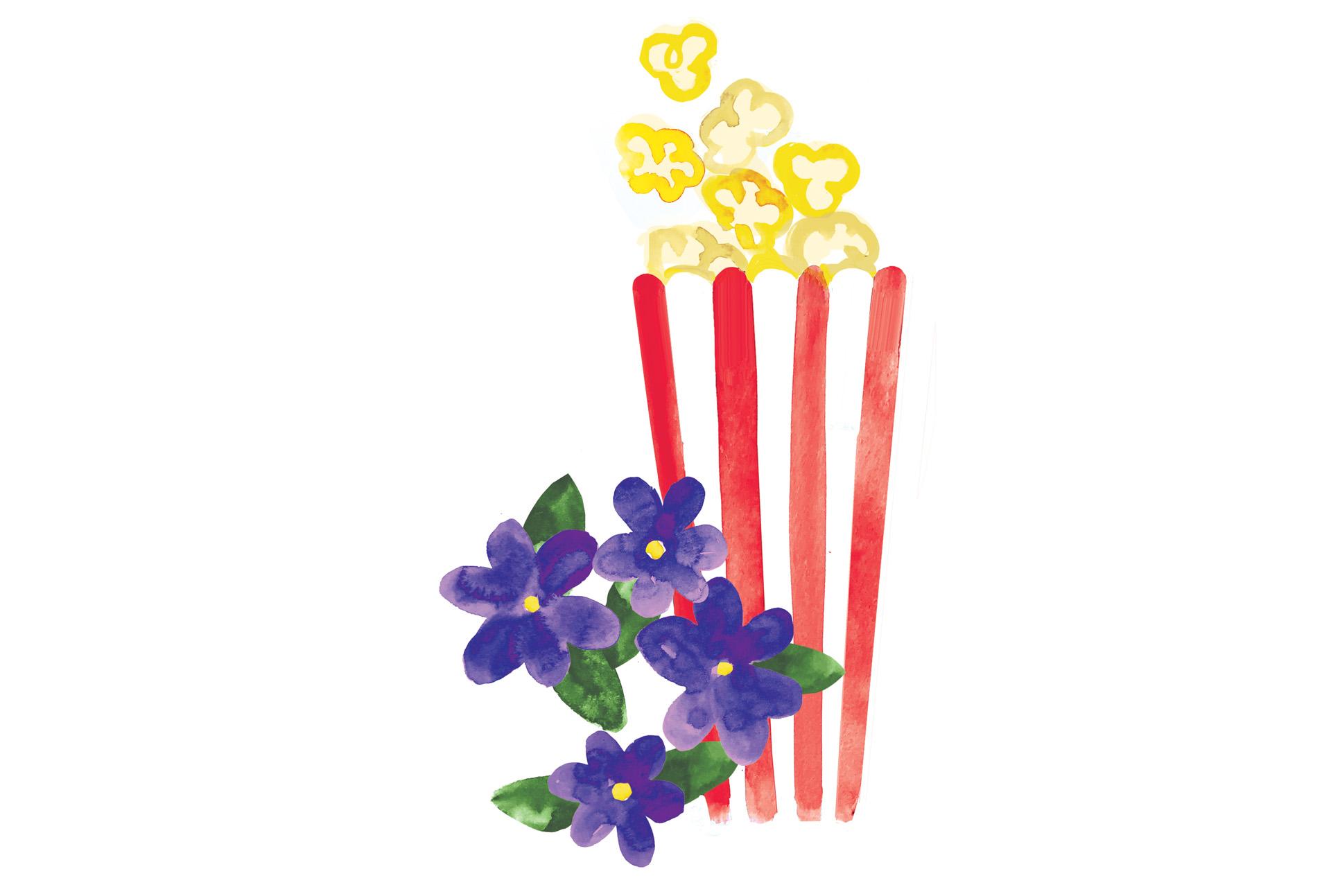 Illustration of buttered popcorn and violets