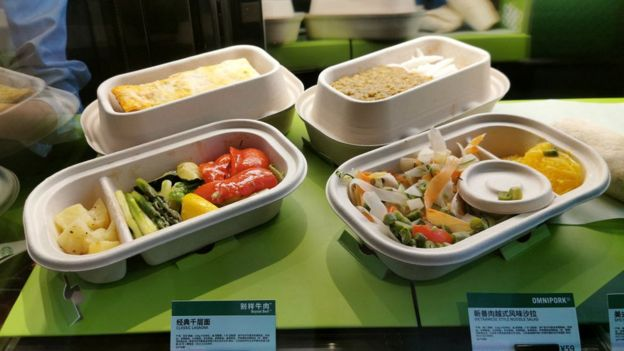 Plant-based meat dishes are seen offered at a Starbucks store on April 22, 2020 in Shanghai, China. Starbucks has launched plant-based meat menus in China