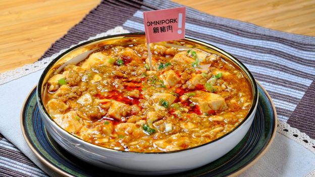 A bowl of OmniPork ma po tofu