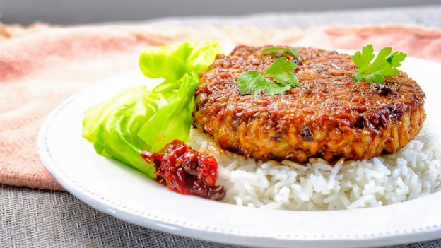 Fried spicy substitute pork patty