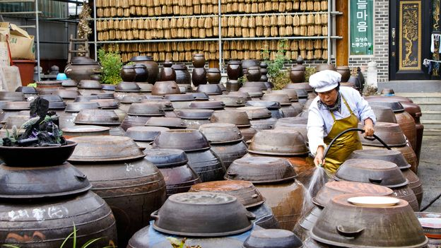Gochujang is fermented in massive clay pots called onggi (Credit: Credit: Michele Burgess/Alamy)