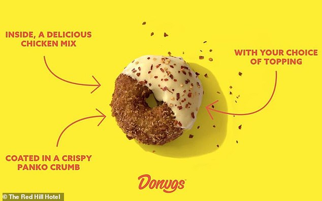 The savoury donug is made from a delicious free-range chicken mix, coated in crispy panko crumbs and topped with sauce