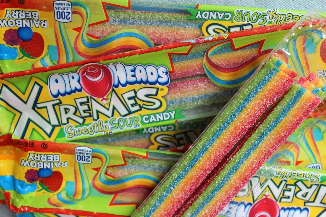 Airheads Xtremes Sweetly Sour Candy packaging. October 2020