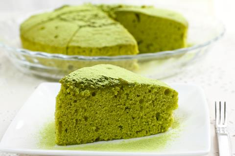 A slice of match flavoured cake