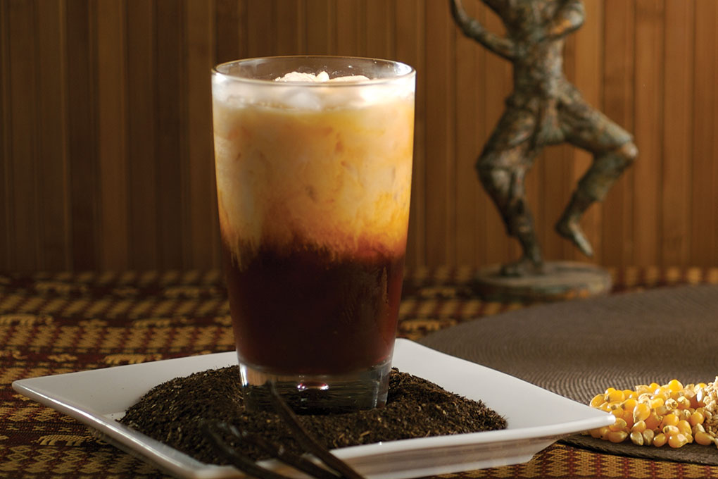 Chef Robert Danhi's traditional version of Thai tea highlights the striking visuals and the inviting richness of the drink.