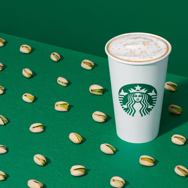 Starbucks releases winter menu with new Pistachio Latte, Honey Almondmilk Cold Brew, Red Velvet Loaf and more | USA Today