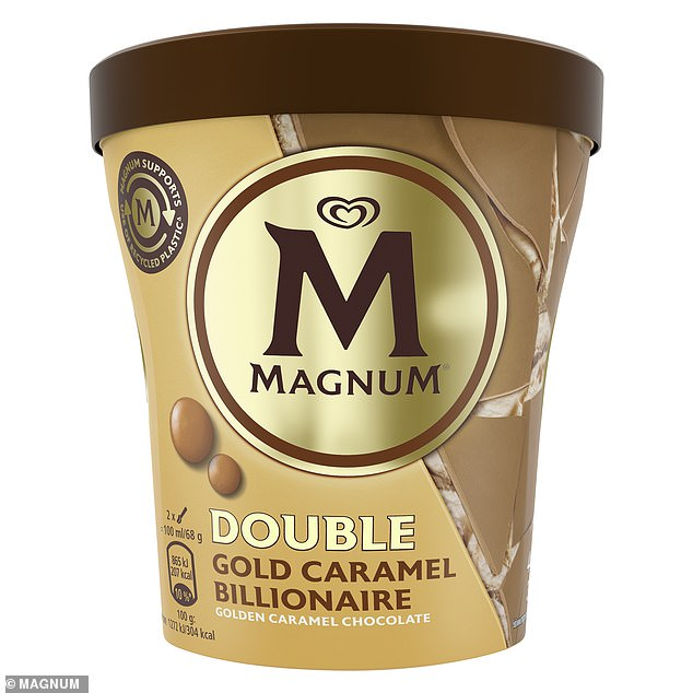 Double Gold Caramel Billionaire (pictured) joins the brand's collection of flavours including Double Salted Caramel and Ruby