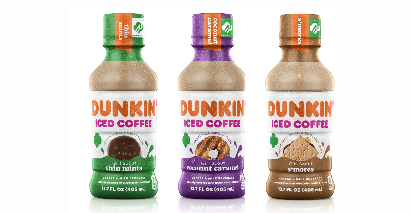 Dunkin' Launches Three New Girl Scout Cookie™ Inspired Bottled Iced Coffees | stories.inspirebrands.com