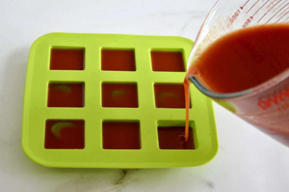 PHOTO: Bloody Mary cocktail poured into an ice cube tray to be frozen.