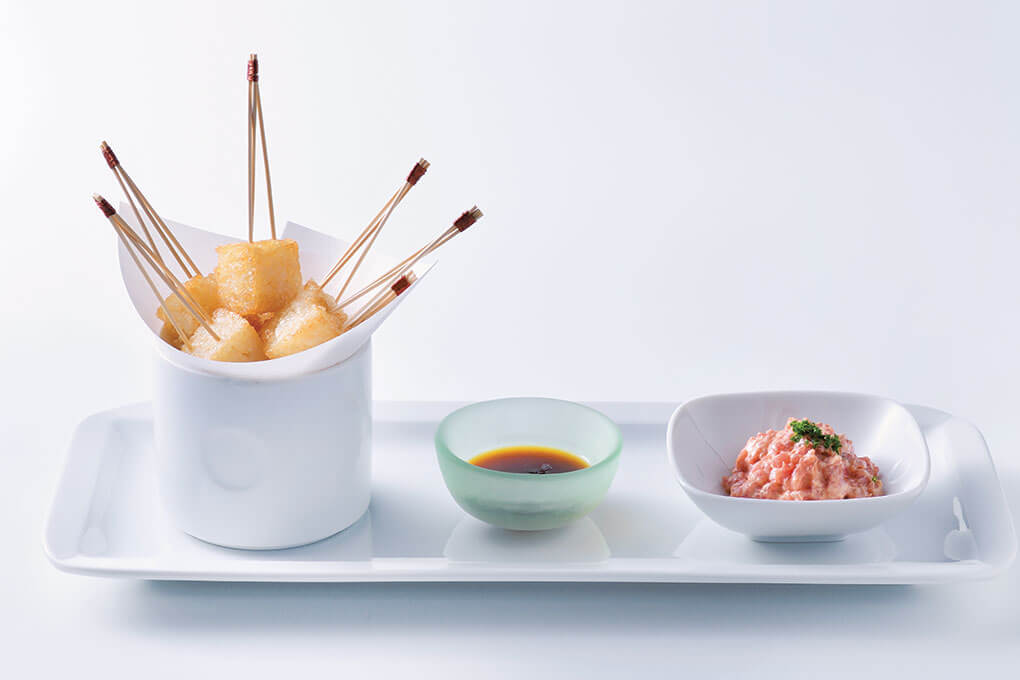 Morsels of crispy rice are formed into elegant cubes and served as part of a spicy tuna shareable at Nobu Restaurant, based in New York.